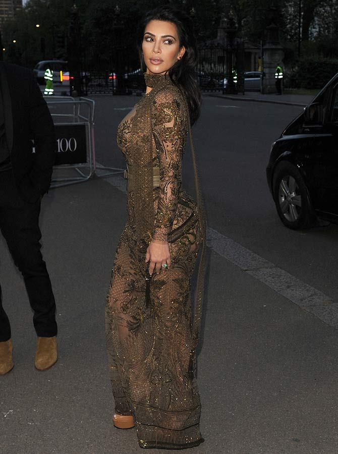 Kim in an embroidered lace dress