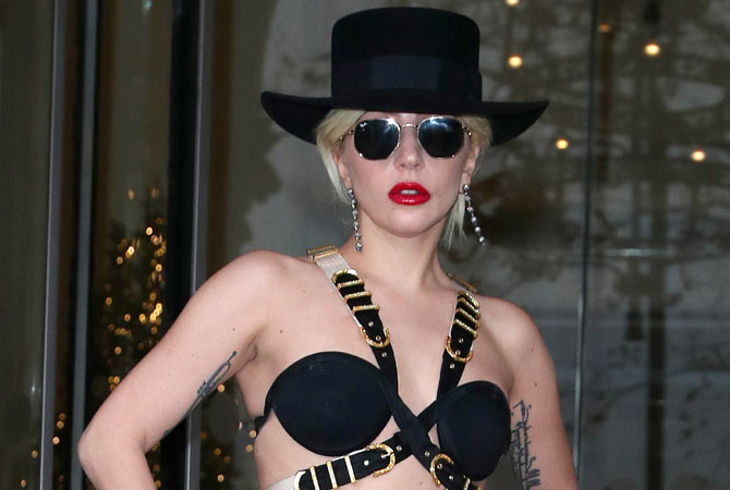 Lady Gaga wearing a skimpy outfit