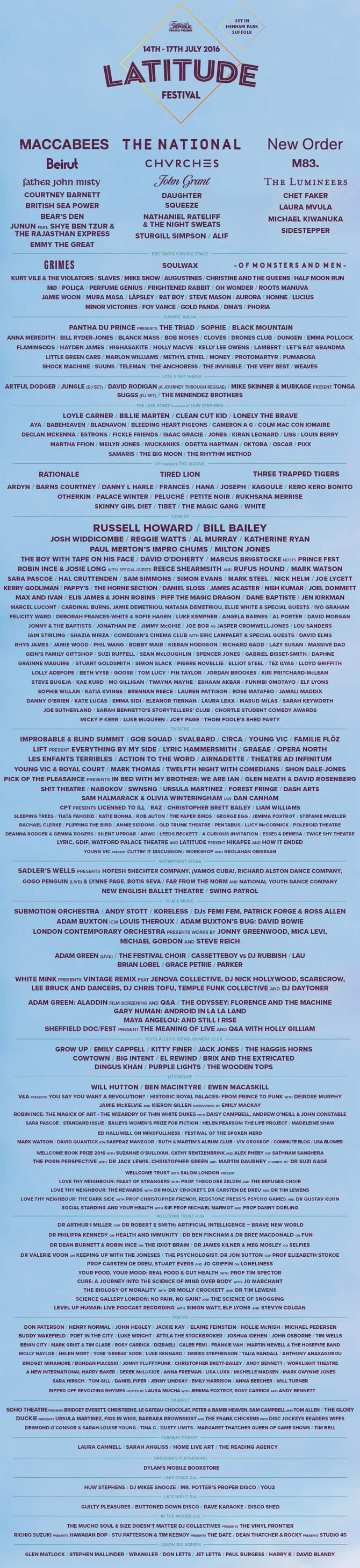 Latitude Festival 2016 Line-up Poster