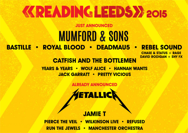 The announcement poster for 2015's Reading and Leeds festivals