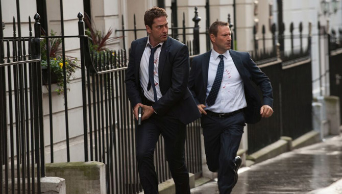 Gerard Butler and Aaron Eckhart in 'London Has Fallen'