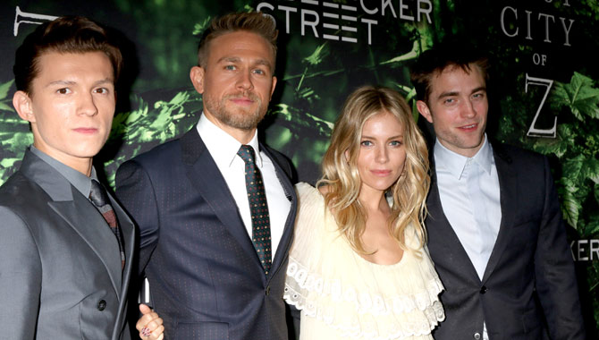 Tom Holland, Charlie Hunnam, Sienna Miller and Robert Pattinson starred in 'The Lost City of Z'