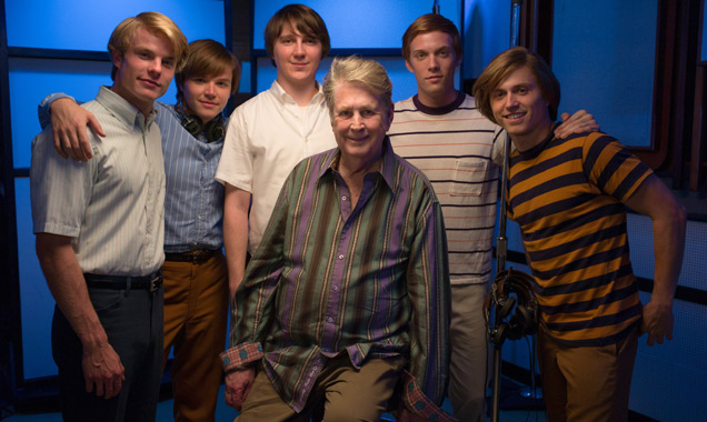 Paul Dano with Brian Wilson and the cast of 'Love & Mercy'