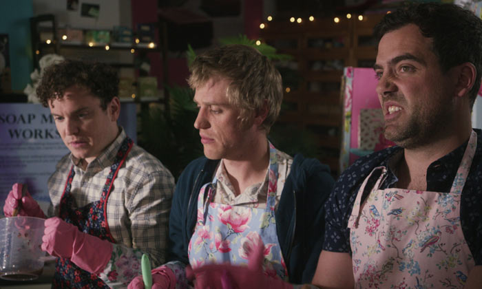 Joshua McGuire, Johnny Flynn and Daniel Ings in 'Lovesick'