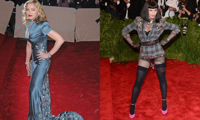 Madonna at Met Gala 2011 (L) and 2013 (R)