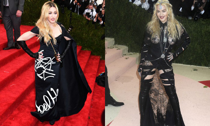 Madonna at Met Gala 2015 (L) and 2016 (R)
