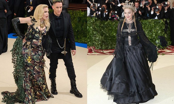 Madonna at Met Gala 2017 (L) and 2018 (R)