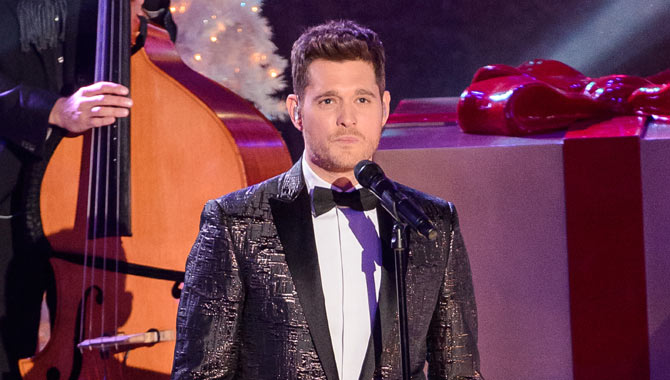 Michael Buble singing on stage at Christmas