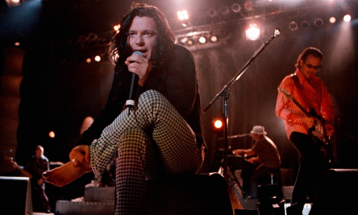 Michael Hutchence performs with INXS at the Greek Theatre, 1997 / Photo Credit: James Steinfeldt/Zuma Press/PA Images