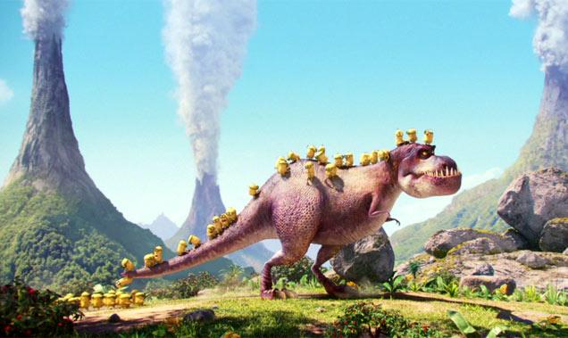 The Minions with a dinosaur