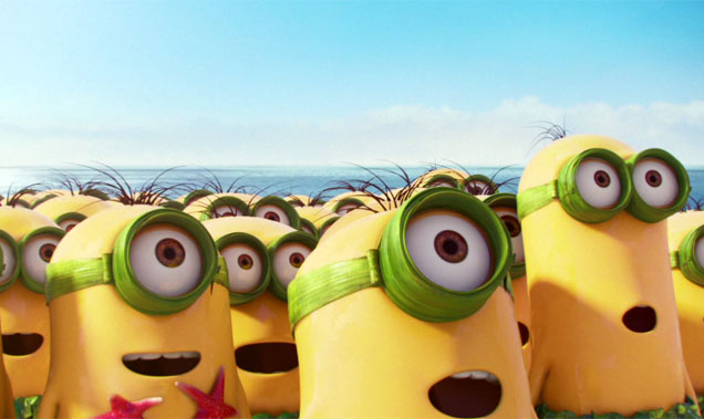 The Minions gaze in awe at their first master