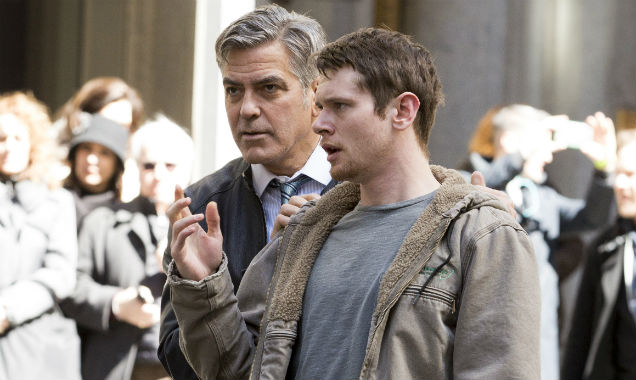 George Clooney and Jack O'Connell on Money Monster set 2