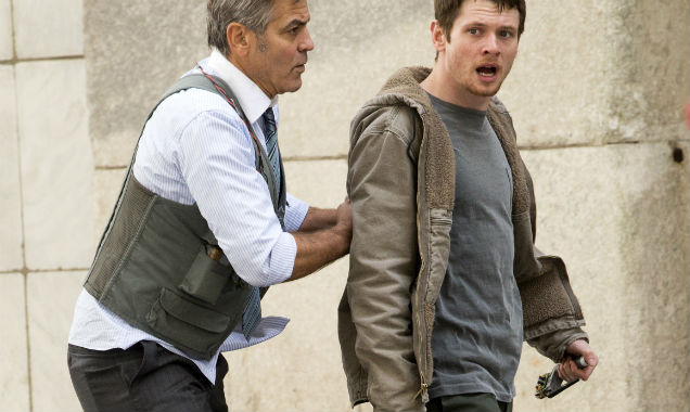 George Clooney and Jack O'Connell on Money Monster set