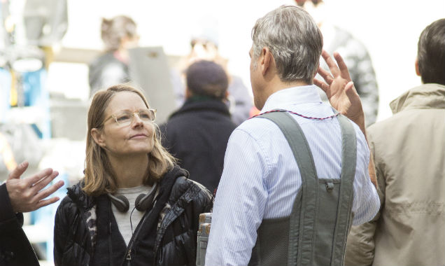 Jodie Foster and George Clooney on Money Monster set