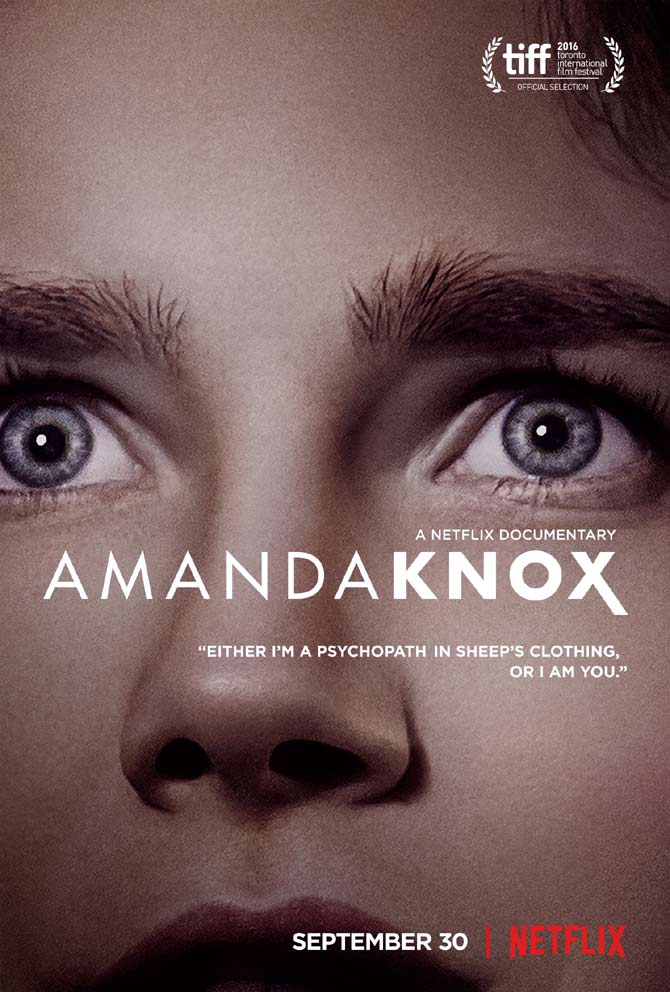 The poster for the Netflix Amanda Knox documentary looks deep into the subject