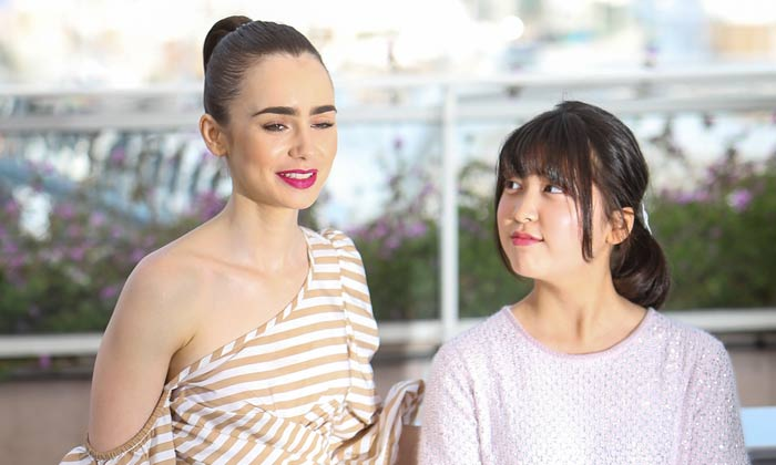 Lily Collins and Ahn Seo Hyun at the photocall for Okja