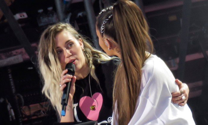 Ariana Grande with Miley Cyrus at One Love Manchester