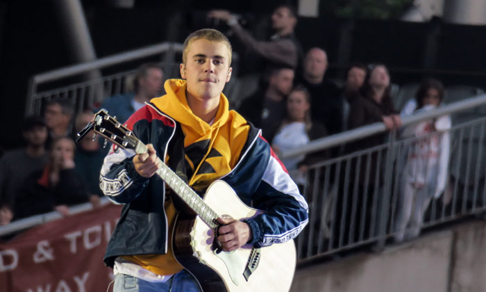 Justin Bieber performs in Manchester