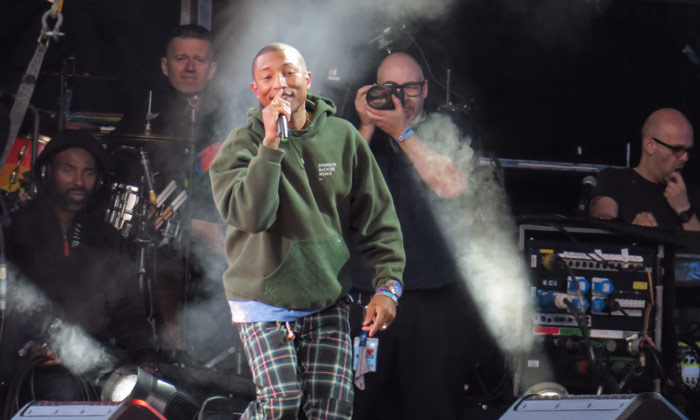 Pharrell performs at One Love Manchester