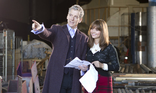 Peter Capaldi rehearsing some of his first 'Doctor Who' scenes with Jenna Coleman