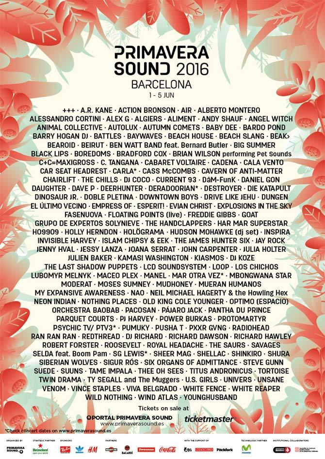 Primavera 2016 Line-up