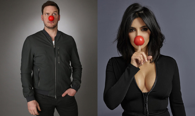Chris Pratt and Kim Kardashian on Red Nose Day