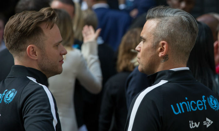 Robbie Williams and Olly Murs at Soccer Aid 2018