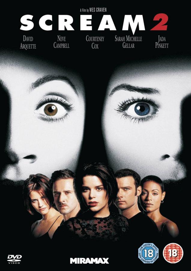 The DVD cover for one of the original 'Scream' trilogy films, 'Scream 2'