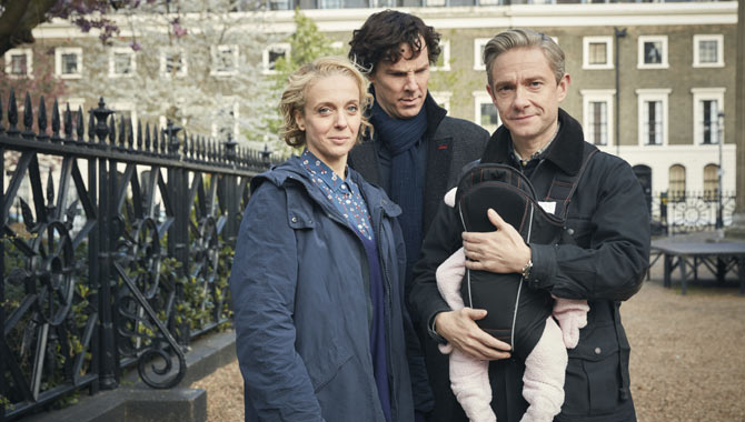 Amanda Abbington, Benedict Cumberbatch and Martin Freeman