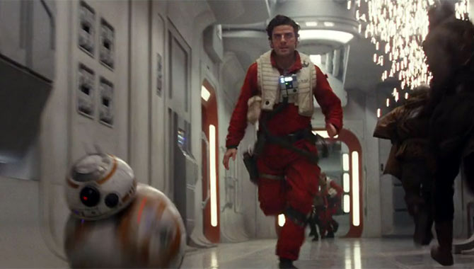 Oscar Isaac returns as Poe alongside droid BB-8 in 'The Last Jedi'
