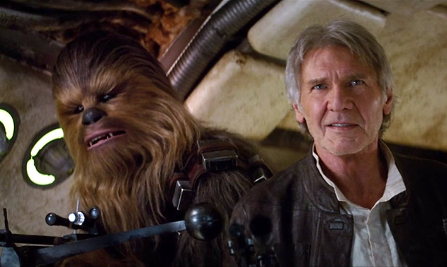Harrison Ford as Han Solo in Star Wars The Force Awakens