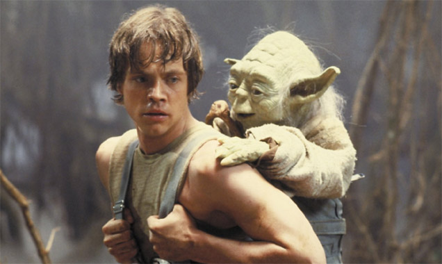 Mark Hamill as Luke Skywalker with Yoda in 'The Empire Strikes Back'