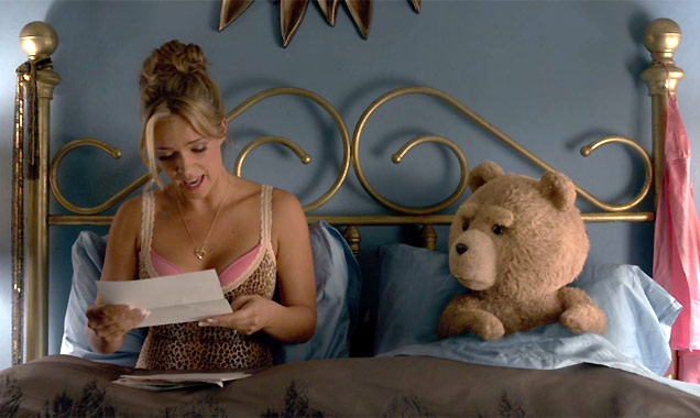 Jessica Barth and Ted in Ted 2