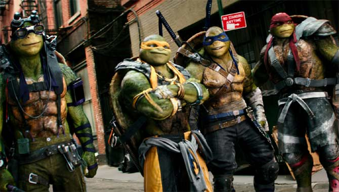 The Turtles in Teenage Mutant Ninja Turtles 2