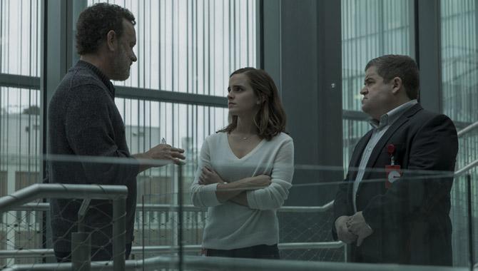 Tom Hanks with co-stars Emma Watson and Patton Oswalt