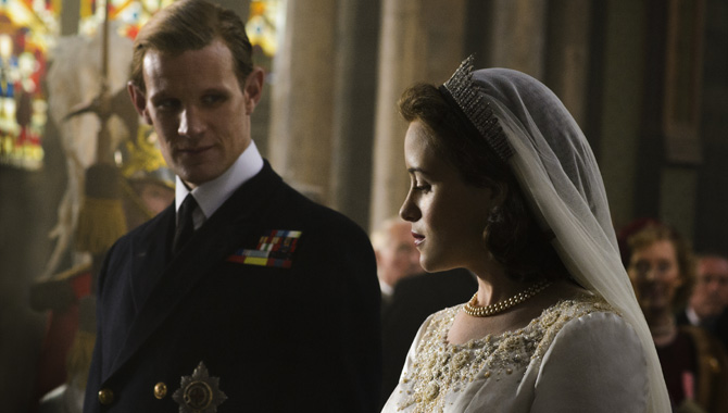 Matt Smith and Claire Foy as Prince Philip and Queen Elizabeth II in 'The Crown'