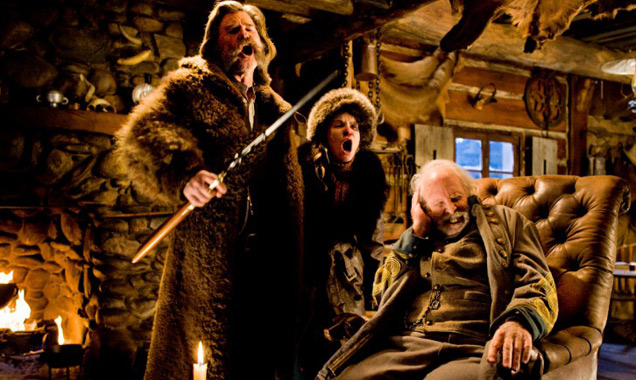 Kurt Russell, Jennifer Jason Leigh, and Bruce Dern in 'The Hateful Eight'