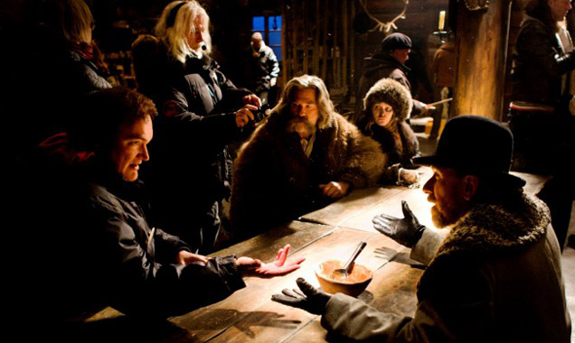 Quentin Tarantino on set with the cast of 'The Hateful Eight'
