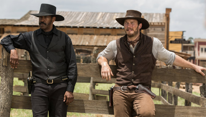 Denzel Washington and Chris Pratt in The Magnificent Seven