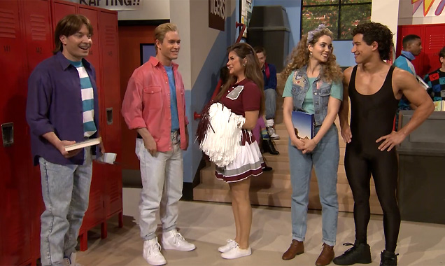 Jimmy Fallon & the Saved By The Bell cast