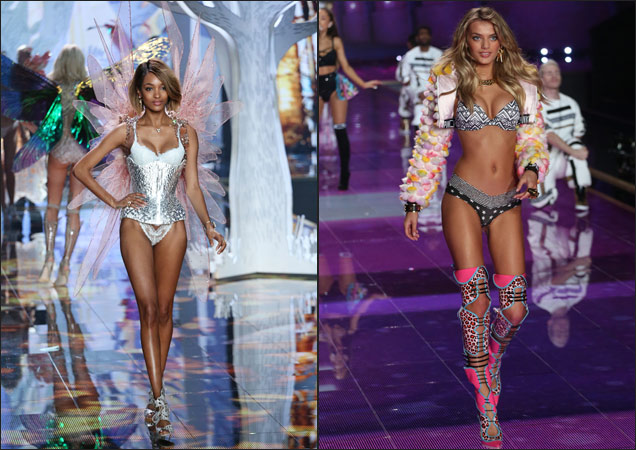 Jourdan Dunn and Bregje Heinen at 2014 Victoria's Secret Fashion Show