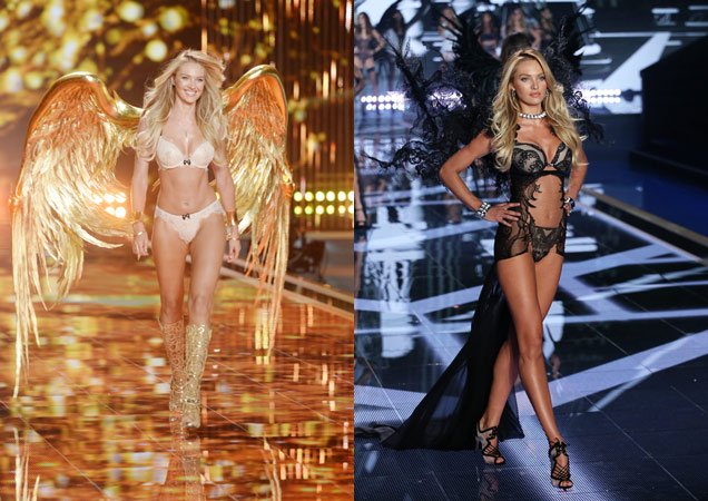 Candice Swanepoel and Karlie Kloss at 2014 Victoria's Secret Fashion Show