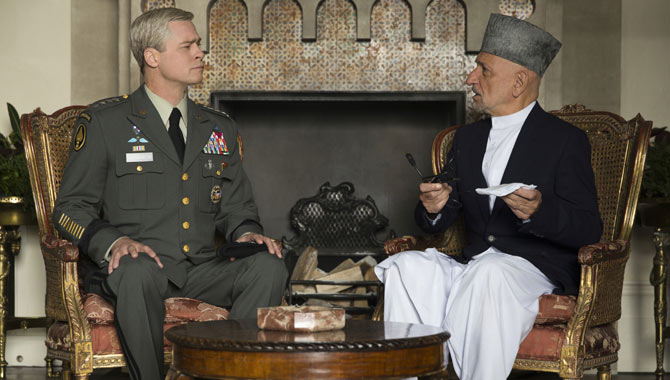 Brad Pitt and Ben Kingsley in War Machine