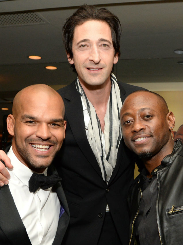 Amaury Nolasco, Adrien Brody and Omar Eppsat at the 8th Annual Hollywood Domino Gala, in Los Angeles (Credit Michael Kovac - Getty Images)