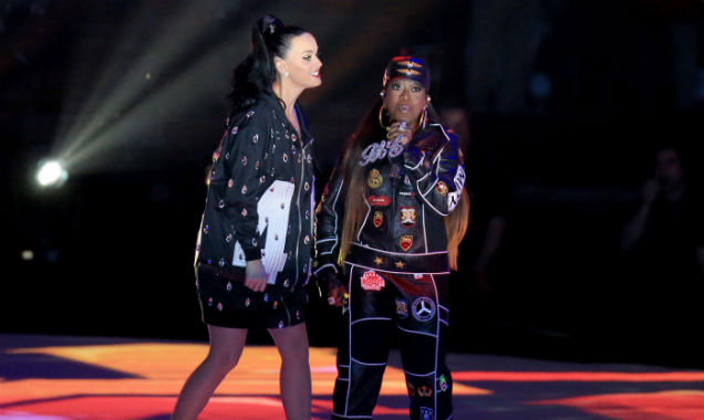Katy Perry performes with Missy Elliott at the 2015 Super Bowl half-time show (Credit Christopher Polk - Getty Images)