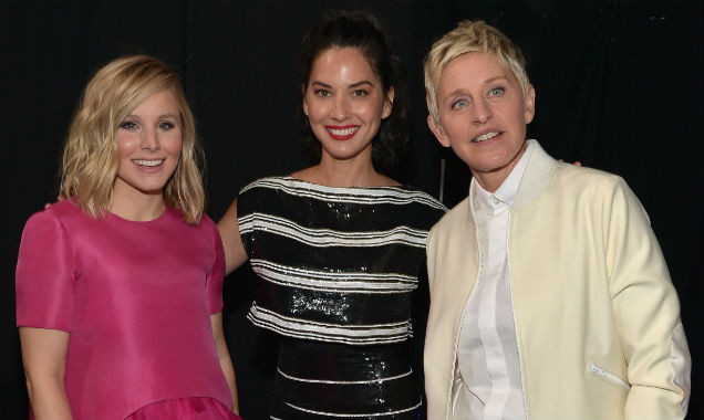 Kristen Bell, Olivia Munn and Ellen DeGeneres at the 41st People's Choice Awards (Credit Charley Gallay - Getty Images)