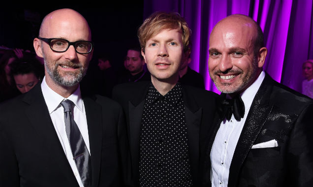 Moby, Beck and Alessandro Maria Ferreri pose together (Credit Dimitrios Kambouris - Getty Images)