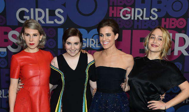 Zosia Mamet, Lena Dunham, Allison Williams and Jemima Kirke pose together at the 'Girls' season four premiere (Credit Jamie McCarthy - Getty Images)