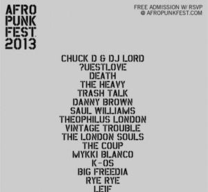 Afropunk Fest 2013 Announces 9th Year - Chuck D, Questlove, Death, Danny Brown Plus Many More