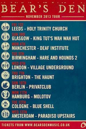 Bear's Den Announce UK and Europe Headline Tour for November 2013